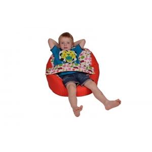 Pelíšek pro miminko, relaxační vak BERUŠKA červená, slouží jako sedací vak