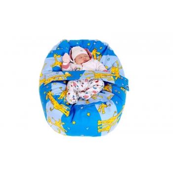 Pelíšek pro miminko, relaxační vak ŽIRAFA modrá 100% bavlna