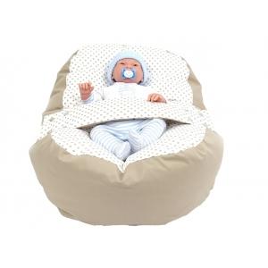Pelíšek pro miminko, relaxační vak PUNTÍK dvoubarevný béžový