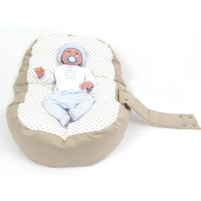 Pelíšek pro miminko, relaxační vak PUNTÍK dvoubarevný béžový3