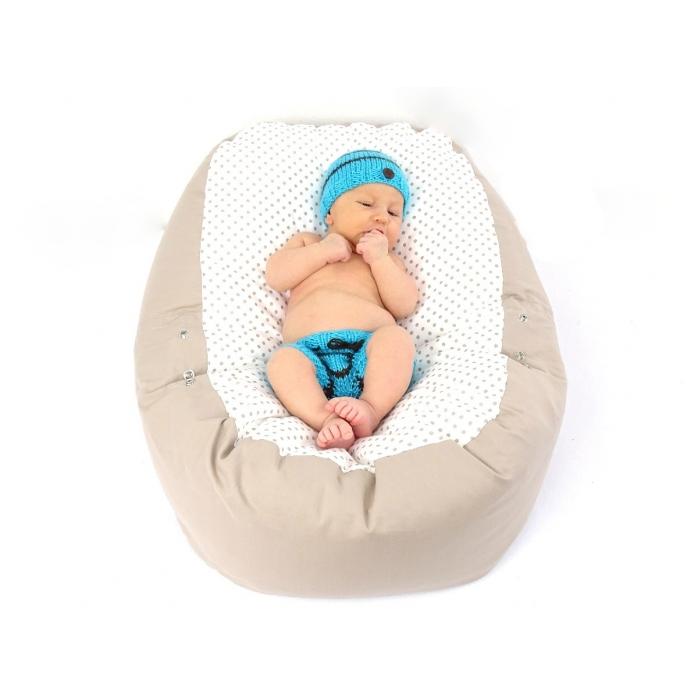 Pelíšek pro miminko, relaxační polštář PUNTÍK dvoubarevný béžový 1