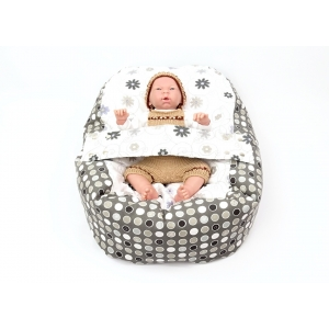 Pelíšek pro miminka, kojenecký relaxační polštář LOUKA šedá