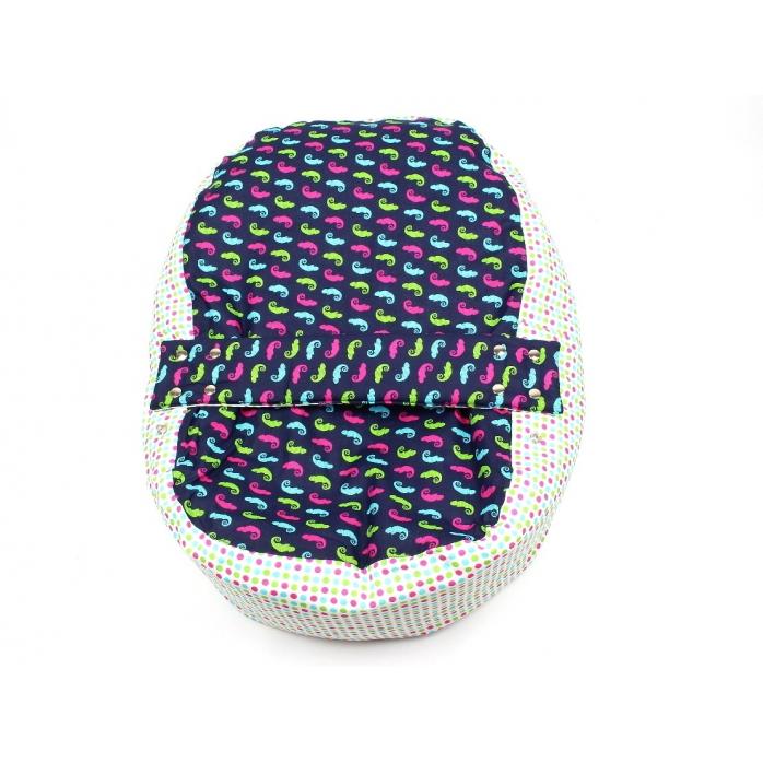 Pelíšek pro miminko, kojenecký relaxační polštář CHAMELEON MODRÝ 1