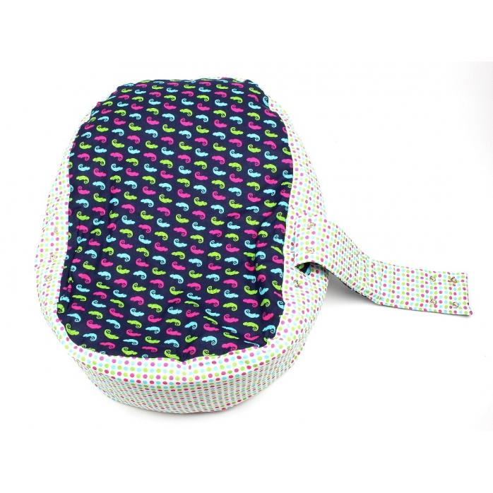 Pelíšek pro miminko, kojenecký relaxační polštář CHAMELEON MODRÝ 2
