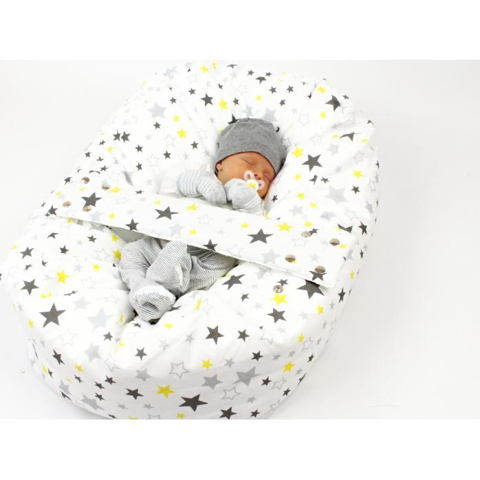 Pelíšek pro miminka, kojenecký relaxační polštář HVĚZDY ŽLUTÉ