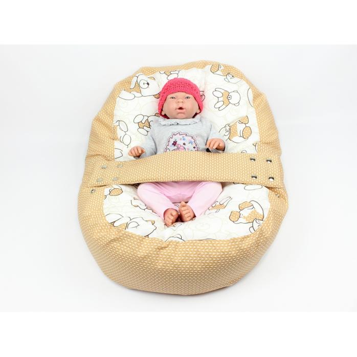Pelíšek pro miminka, kojenecký relaxační polštář MÉĎA HNĚDÝ
