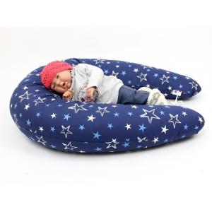 Těhotenský a kojící polštář Maxi HVĚZDY modré, 100% bavlna