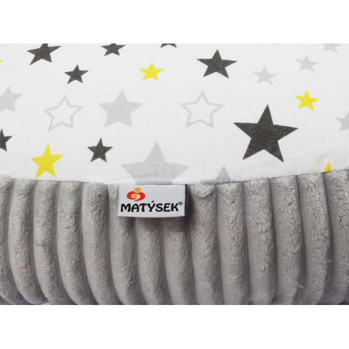 Těhotenský a kojicí polštář Maxi HVĚZDY ŠEDÝÉ minky colormix 205cm 2