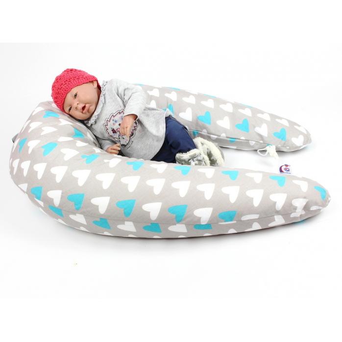 Kojicí, těhotenský polštář Maxi SRDCE MODRÉ 100% bavlna