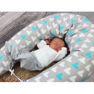 Kojicí, těhotenský polštář Maxi SRDCE MODRÉ 100% bavlna 1