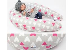 Kojící polštář Maxi SRDCE RŮŽOVÉ 100% bavlna